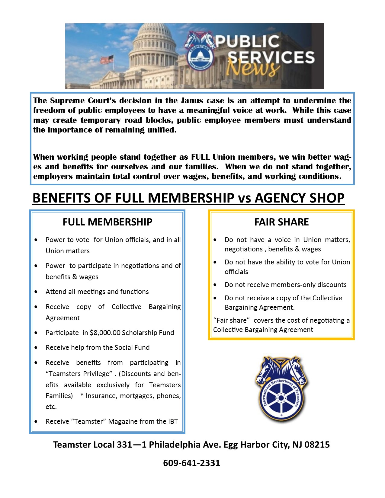 DUES – MEMBER INFORMATION – Teamsters Local 331